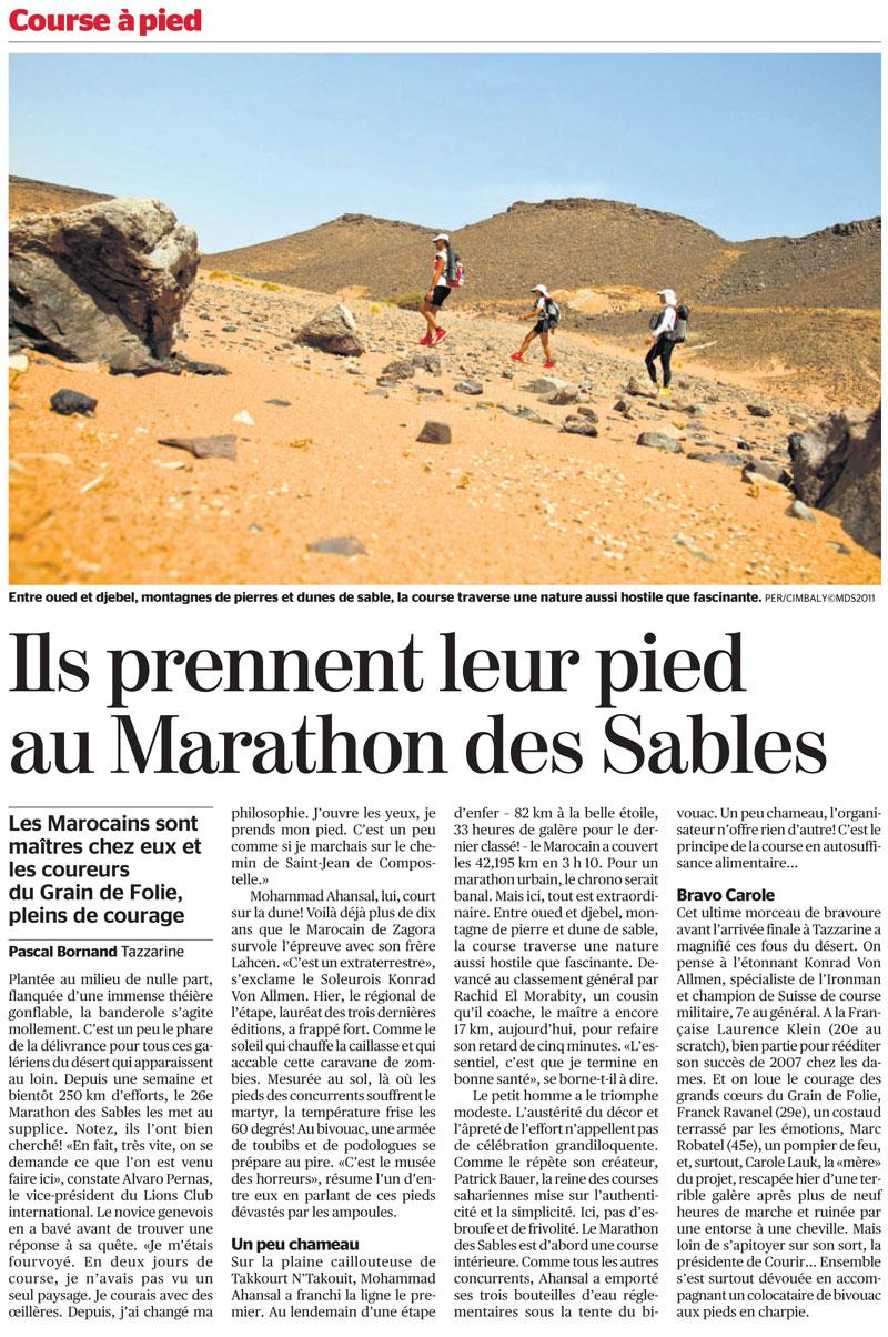 Tribune de Genève du 9 avril 2011