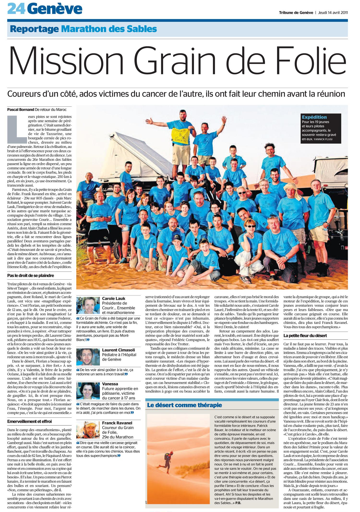 Tribune de Genève du 14 avril 2011
