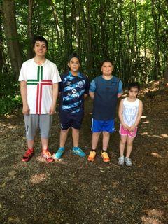Stéphane, Diogo, sa petite soeur Daniela et Enzo, la satisfaction d'un entraînement réussi
